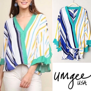 Umgee sz L striped flutter bell sleeve blouse